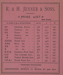 Advert for RH Jenner & Sons, brewers, reverse side
